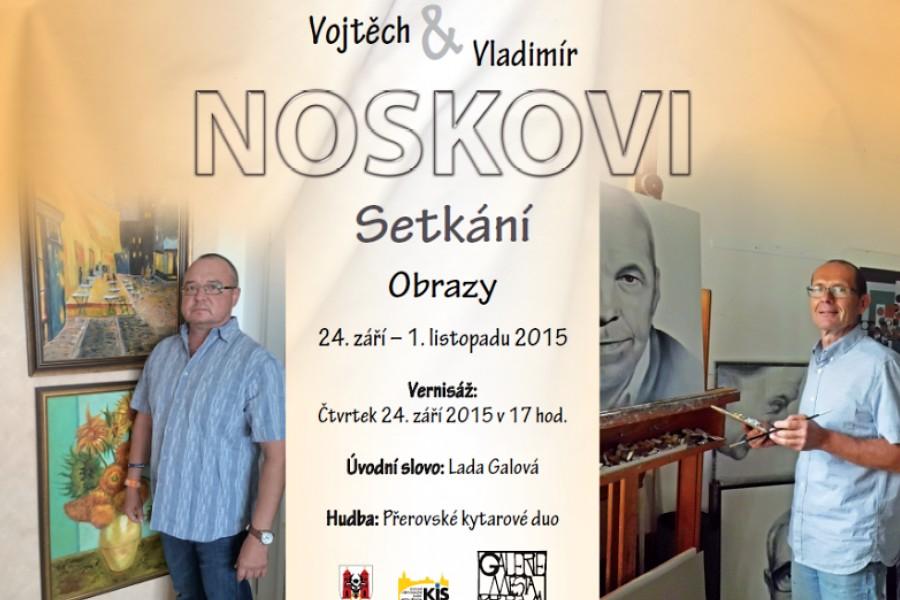 Setkání jmenovců Noskových v městské galerii představí koláže i přerovská zákoutí v malbě