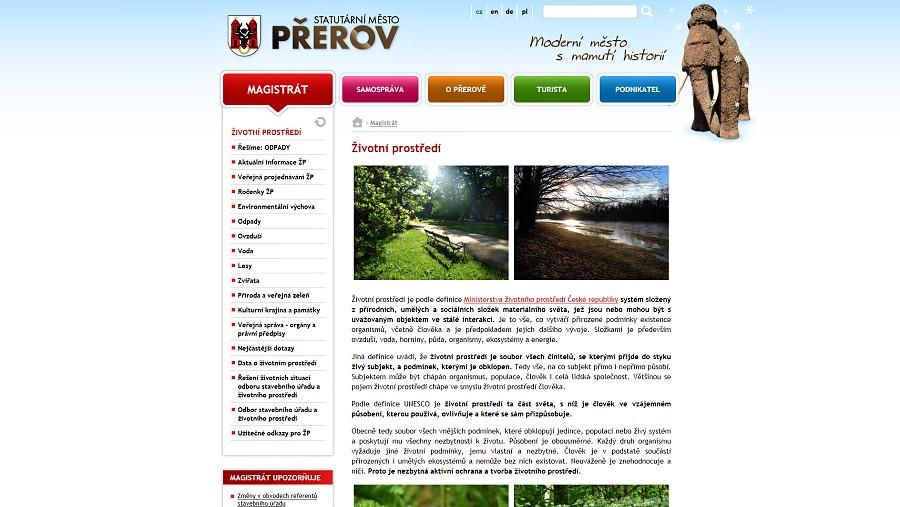 Přerovský web poskytuje nejlépe informace o životním prostředí v republice, uznala porota