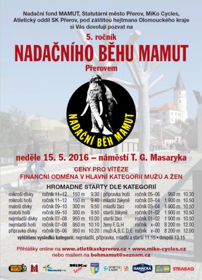 Nadační běh mamut 2016 Plakát