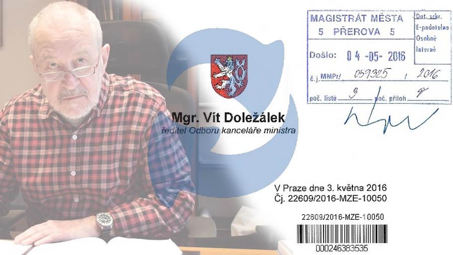 Reakce na dopis primátora Přerova ve věci přerovského výstaviště