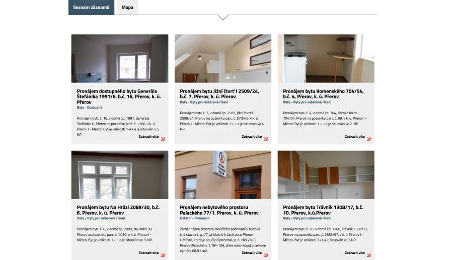 Realitní web města nabízí nemovitosti