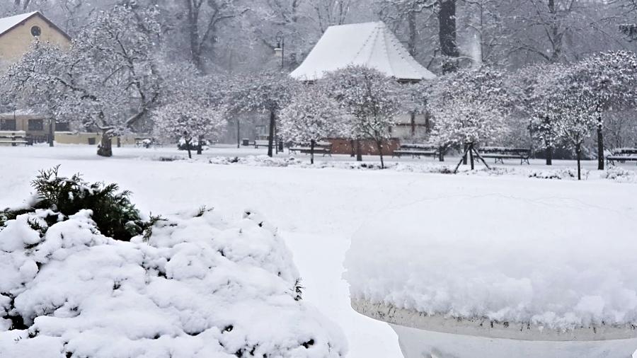 Sníh zasypal Přerov. Park Michalov je uzavřen – stejně jako městský hřbitov