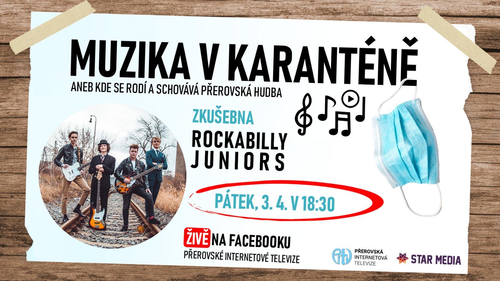 Živé vysílání koncertu ze zkušebny Rockabilly Juniors