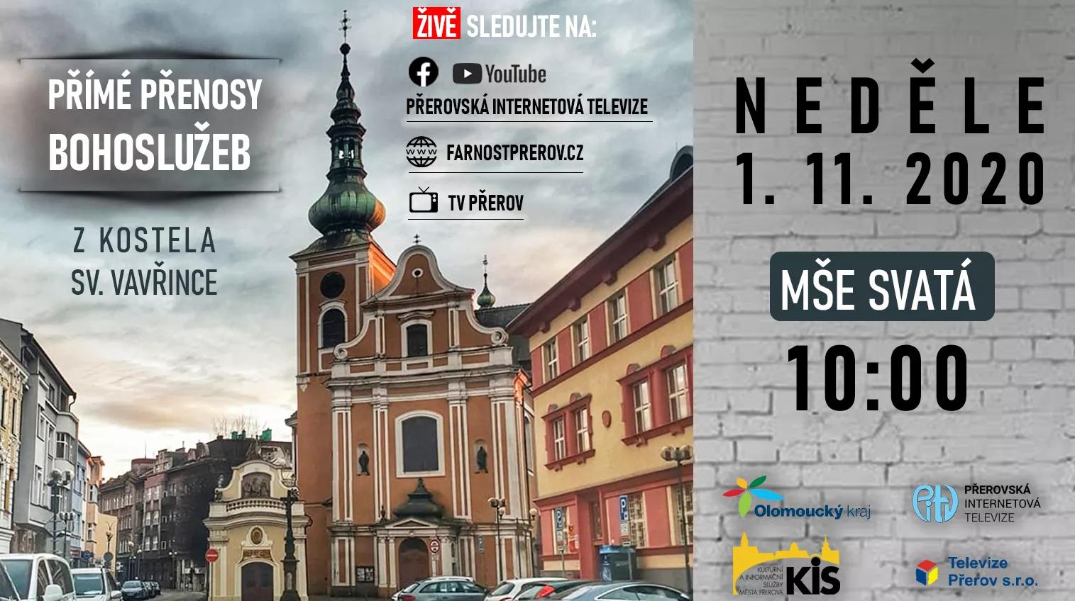 Nedělní bohoslužba z kostela sv. Vavřince – živé vysílání 1.11. 2020