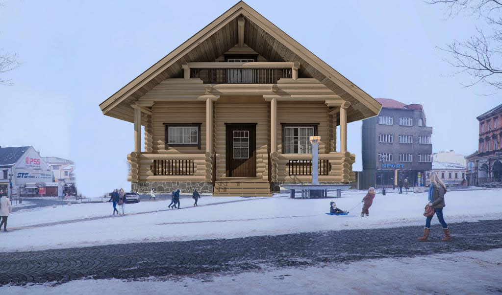 Místo budovy Emosu bude na náměstí TGM obří srub. Dřevo poskytne Žebračka
